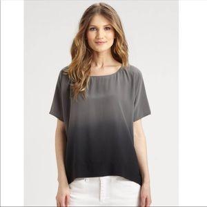 Eileen Fisher silk gray ombré shirt